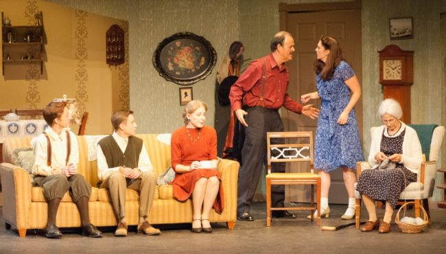 L to R Andrew Sharpe as Arty, Jeremy Crawford as Jay, Jeanne Louise as Gert, Brian Binney as Louie, Mary Rogers as Bella and Leah Mazade as Grandma Kurnitz