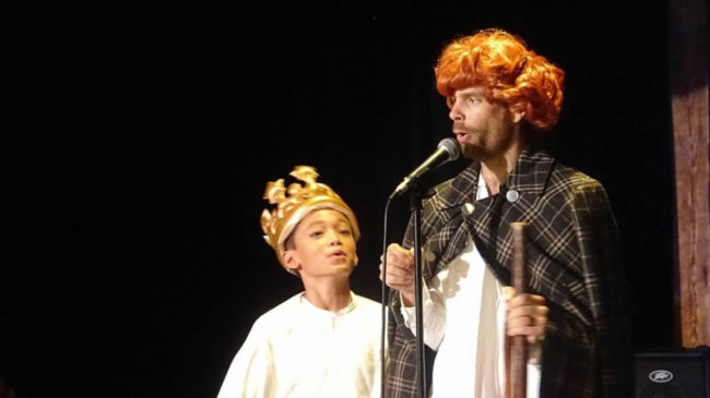 Dylan Ngo (left) as Prince Albert and Matthew Baughman (right) as Queen Victoria in The Mystery of Edwin Drood