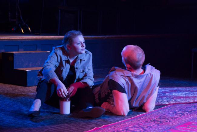Hilary Kelly as Menas and John Stange as Enobarbus.