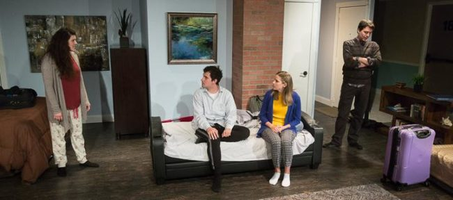 (L to R) Shea-Mikal Green as Daphna, Matt Lee as Jonah, Julia Becker as Melody, and Jeremy Myers as Liam in Bad Jews