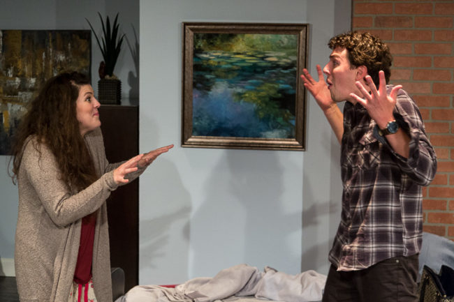 Shea-Mikal Green (left) as Daphna and Jeremy Myers (right) as Liam in Bad Jews