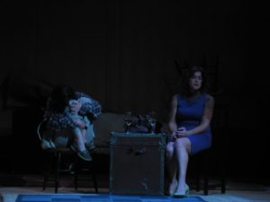 Chara Bauer (left) as Kimmy and Lee Conderacci (right) as Ashley in Reunion by Nancy Murray