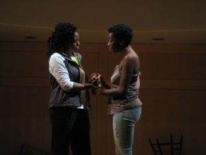 "Mia N. Robinson (left) as Mother and Lauren Erica Jackson (right) as Daughter in ""Smell the Blame"" by Kevin Kostic"