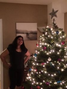 Ritija Gupta (left) and Firdinand the very American Christmas Tree (right)