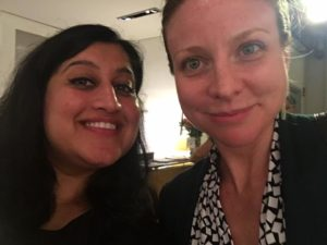 Ritija Gupta (left) and Stage Manager Linday Brown (right) celebrating a successful opening night of Charming The Destroyer