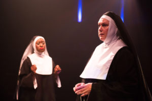 Ashley Johnson (left) as Sister Mary Clarence and Lynn Sharpe-Spears (right) as Mother Superior