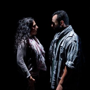 Sarah Corey (left) as Valeria and Ahmad Kamal (right) as Amor in I Call My Brothers