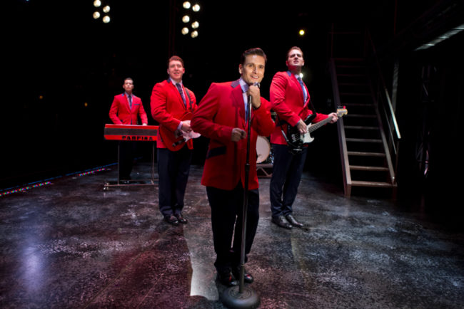 "The Four Seasons (L to R) Drew Seeley as Bob Gaudio, Matthew Dailey as Tommy DeVito, Aaron De Jesus as Frankie Valli, and Keith Hines as Nick Massi, singing ""Sherry"" in Jersey Boys"