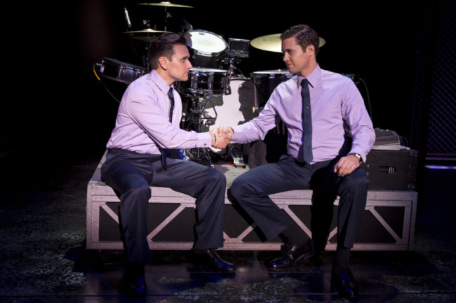 Aaron De Jesus (left) as Frankie Valli and Drew Seely (right) as Bob Gaudio in Jersey Boys