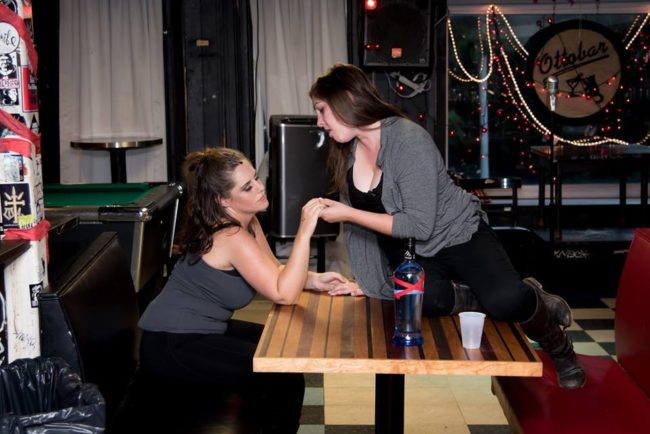 Amber Wood (left) as Tom and Sarah Heiderman (right) as Sara in Murder Ballad