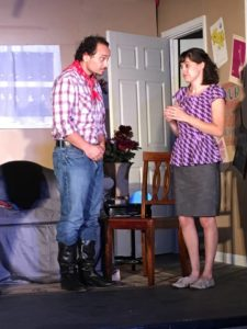 Lou Otero (left) as Jesus and Samantha Murray (right) as Florence in The Odd Couple (female version)