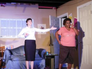 Samantha Murray (left) as Florence and Melissa Broy Fortson (right) as Olive in The Odd Couple
