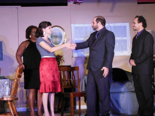 (L to R) Melissa Broy Fortson as Olive, Samantha Murray as Florence, Sam Ranocchia as Manolo, and Lou Otero as Jesus