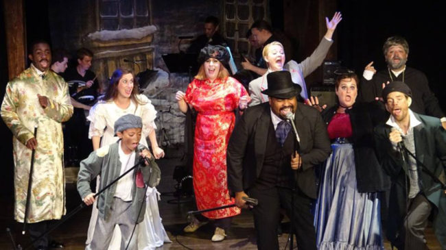 The Company: (L to R) Neville Landless (Andre Brown), Rosa Bud (Shaina Kuhn), Deputy (Dylan Ngo), Helena Landless (Mary Patton), Chairman Cartwright (Malcolm Lee), Edwin Drood (Karissa Swanigan), Princess Puffer (Ally Jenkins), Durdles (Matt Baughman), Rev, Crisparkle (Jason Hoffman)