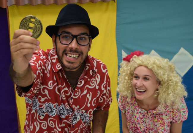 Javier del Pilar (left) and Elle Sullivan (right) in One Gold Coin Una Moneda de Oro