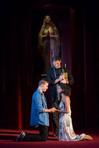 (L to R) Andrew Veenstra as Romeo, Ron Menzel as Friar Laurence, and Ayana Workman as Juliet in Romeo & Juliet