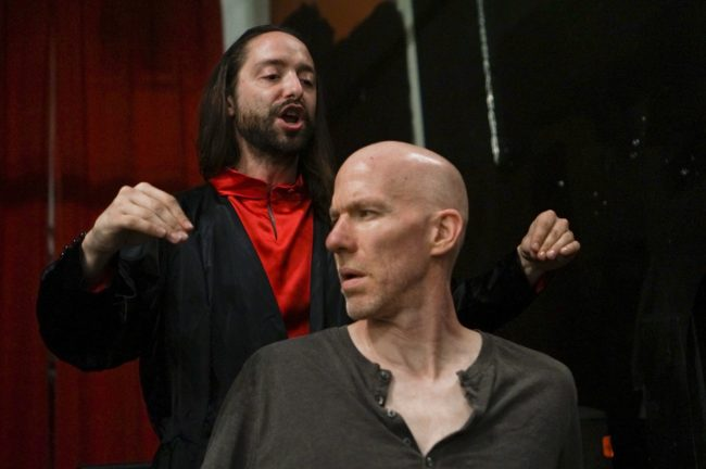 Scott Burke (left) as Junius Brutus Booth playing Richard III and Alex Hacker (right) as Flynn playing Clarence