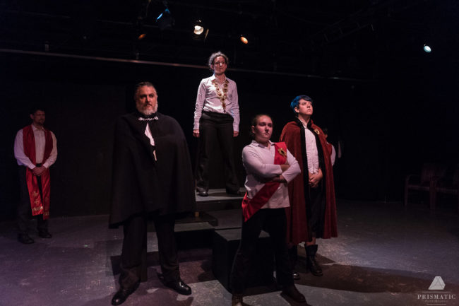 (L to R) Paul Davis, Allison McAlister, Rebecca Korn, and Charlie Green in Henry V at The Rude Mechanicals