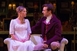 Marianne (Erin Weaver) shares a private moment with her love, John Willoughby (Jacob Fishel) in Sense & Sensibility.
