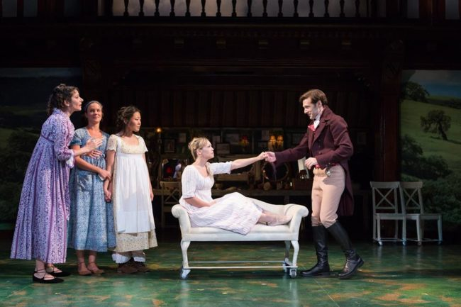Mrs. Dashwood (Lisa Birnbaum, far left) and her daughters (Maggie McDowell, Nicole Kang) look on with great joy as the dashing John Willoughby (Jacob Fishel) bids farewell to Marianne (Erin Weaver) in Folger Theatre's Sense & Sensibility.