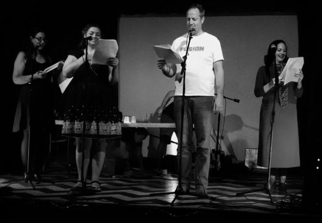 "(L to R) Amelia Carroll as Joey, Vii Lee as Alexandra Bates, Michael Stevenson as Ron Bates, and Lori Travis as Barbara in ""The Body"" by Horatio Dark"