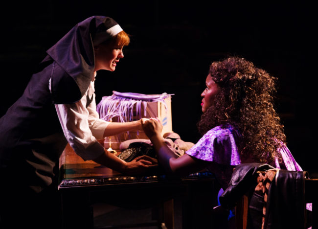 Teresa Danskey (left) as Sister Mary Robert and Ashley Johnson (left) as Deloris Van Cartier in Sister Act