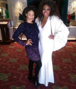 Ashley K. Nicholas (right) covering the Deloris Van Cartier track in Sister Act with friend Tiara Whaley (right) after the matinee performance