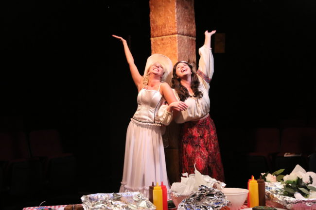 Allison Comotto (left) as Gutrune and Clare Kneebone (right) as Brünnhilde