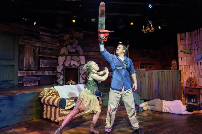 Angeleaza Anderson (left) as Annie and Ben Stoll (right) as Ash in Evil Dead: The Musical