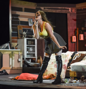 Stephanie Smith as Shelly who's been possessed by a Candarian Demon in Evil Dead: The Musical