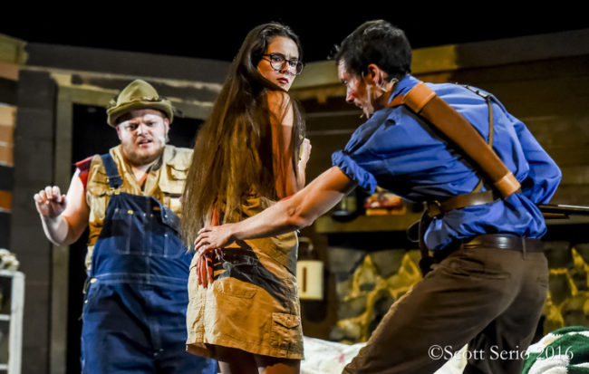 Charlie Johnson (left) as Jake, Jessica Simonson (center) as Annie, and Mike Bliss (right) as Ash in Evil Dead: The Musical