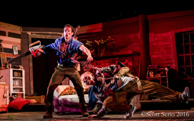 Mike Bliss (left) as Ash and the Candarian Demons in Evil Dead: The Musical at Milburn Stone Theatre