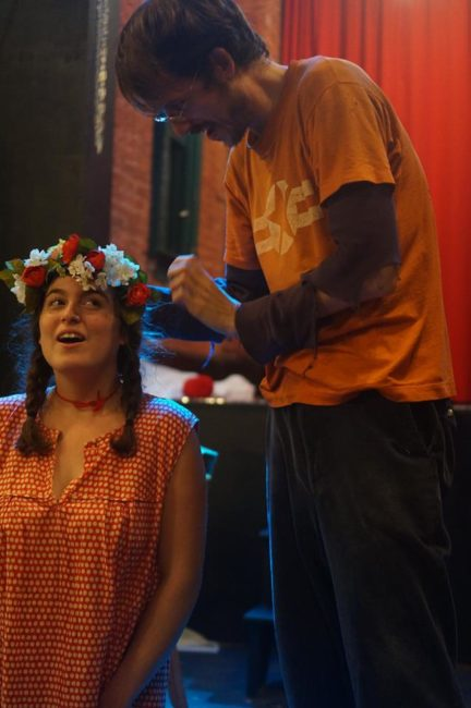 Allison Clendaniel (left) and Connor Kizer (right) rehearsing The Flower Queen