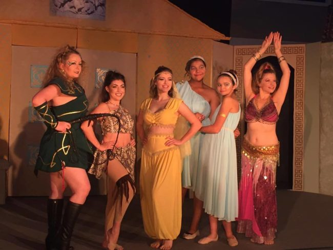 The Courtesans of the House of Marcus Lycus (from L to R) Jenny Liese as Gymnasia, Hayley Miller as Vibrata, Brittney Collins as Panacea, Aaliyah Roach & Mikayla Ann Ford as The Geminae, and Arianne Dalton as Tintinabula