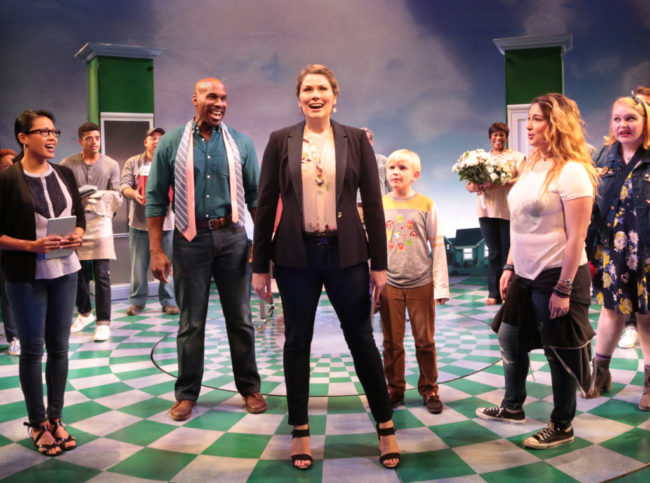 Heidi Blickenstaff (Katherine Blake) and the cast of Disney's Freaky Friday at Signature Theatre through November 20, 2016.