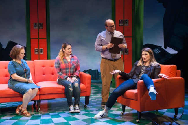 Sherri L. Edelen (Mrs. Luckenbill), Emma Hunton (Ellie Blake), Jason SweetTooth Williams (Dr. Ehrin) and Heidi Blickenstaff (Katherine Blake) in Disney's Freaky Friday at Signature Theatre through November 20, 2016