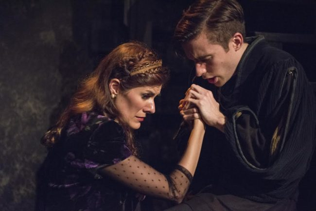 Mary Lauren (left) as Gertrude and Phil Gillen (right) as Hamlet in Hamlet at Compass Rose Theater