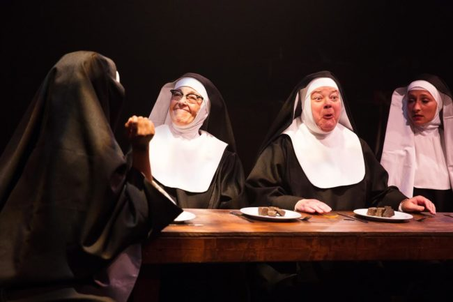 Lynne Sigler (left) as Sister Mary Lazarus and Jane C. Boyle (right) as Sister Mary Martin of Tours in Sister Act