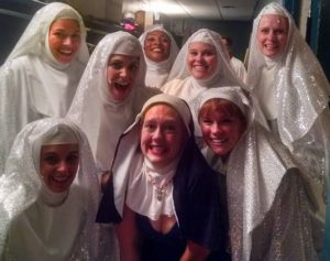 A little Nun Fun with members of the Nunsemble (pictured back row L to R: Coby Kay Callahan, MaryKate Brouillet, Samantha McEwen Deininger, Amy E. Haynes, and Elizabeth Rayca. Front-row L to R: Rachel Kemp, TheatreBloom Writer Amanda N. Gunther, and Teresa Danskey.)