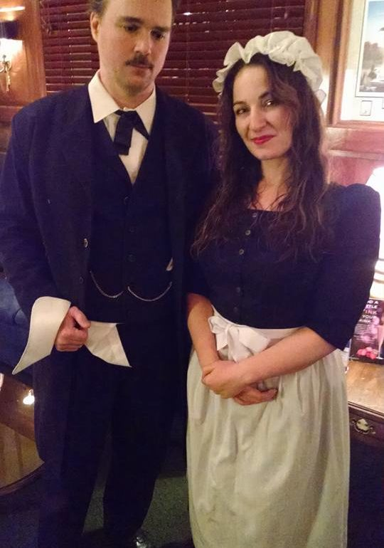 John Kelso (left) as Edgar Allan Poe and Erin Tarpley (right) as The Barmaid