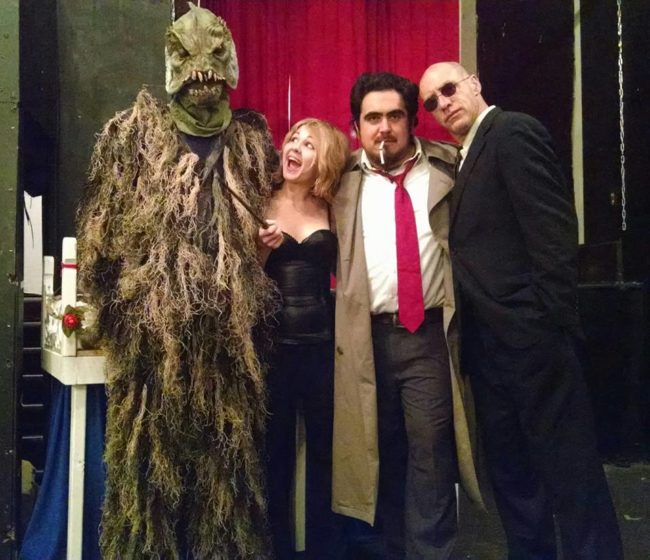 (L to R) Cthulhu, Liz Christmas, Lucas Gerace, and Agent Coletta in Spooked Out Magic