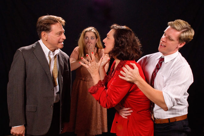 (L to R) Joe Mariano as George, Sarah Wade as Honey, Debbie Barber-Eaton as Martha, and Ron Giddings as Nick