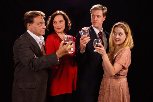 (L to R) Joe Mariano as George, Debbie Barber-Eaton as Martha, Ron Giddings as Nick, and Sarah Wade as Honey