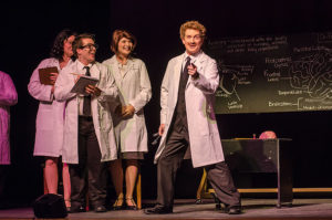 Jeremy Goldman (right) as Dr. Frederick Frankenstein