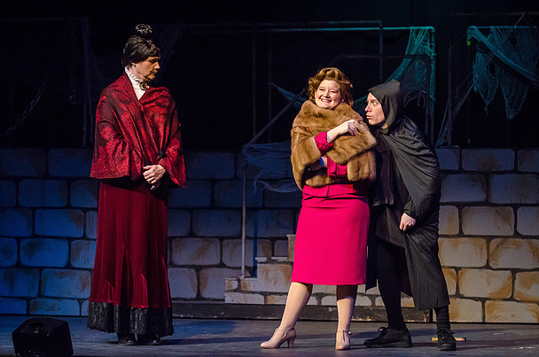 Jean Berard (left) as Frau Blücher, Ashley Gerhardt (center) as Elizabeth, and Matt Wetzel (right) as Igor