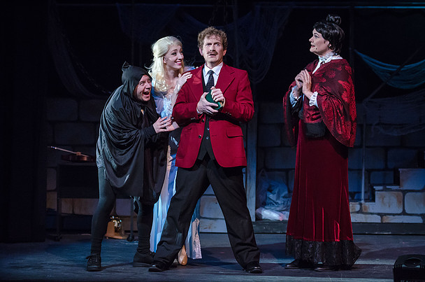 (L to R) Matt Wetzel as Igor, Lindsey Landry as Igna, Jeremy Goldman as Frederick Frankenstein, and Gene Berard as Frau Blücher