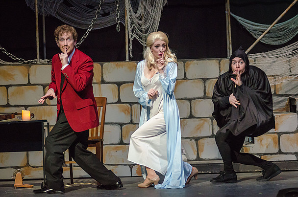 Jeremy Goldman (left) as Frederick Frankenstein, Lindsey Landry (center) as Inga, and Matt Wetzel (right) as Igor