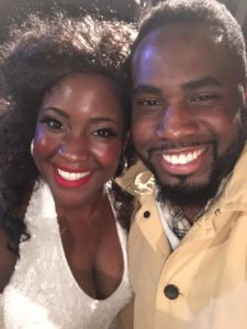 Ashley Johnson (left) and brother James Johnson (right) after an evening performance of Sister Act at Toby's Dinner Theatre