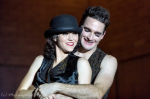 Sarah Jane Bookter (left) as Fraulein Sally Bowles and Jonathan M. Rizzardi (right) as The Emcee in Cabaret