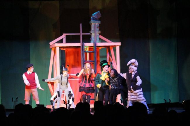 (L to R) Mason Lipczenko as James, Maya Gensler as Centipede, Noelle Efantis as Ladybug, Danny Tran Ho as Grasshopper, Mitchell Ngwenya as Spider, and Nathan Hillman as Earthworm